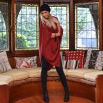 Charli Bird cashmere poncho red lifestyle