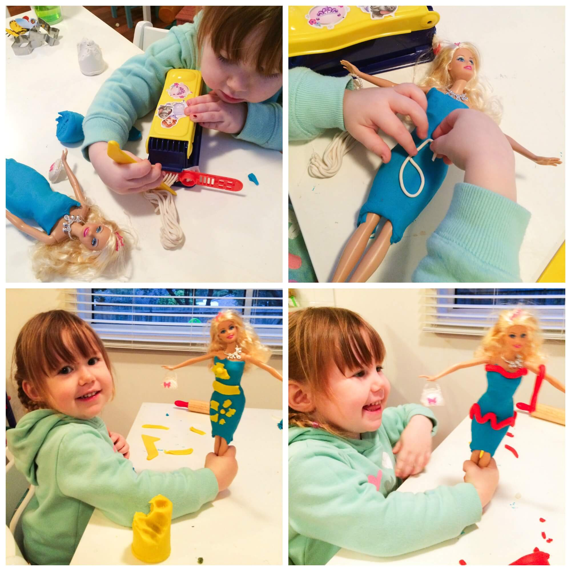 play dough with Barbie