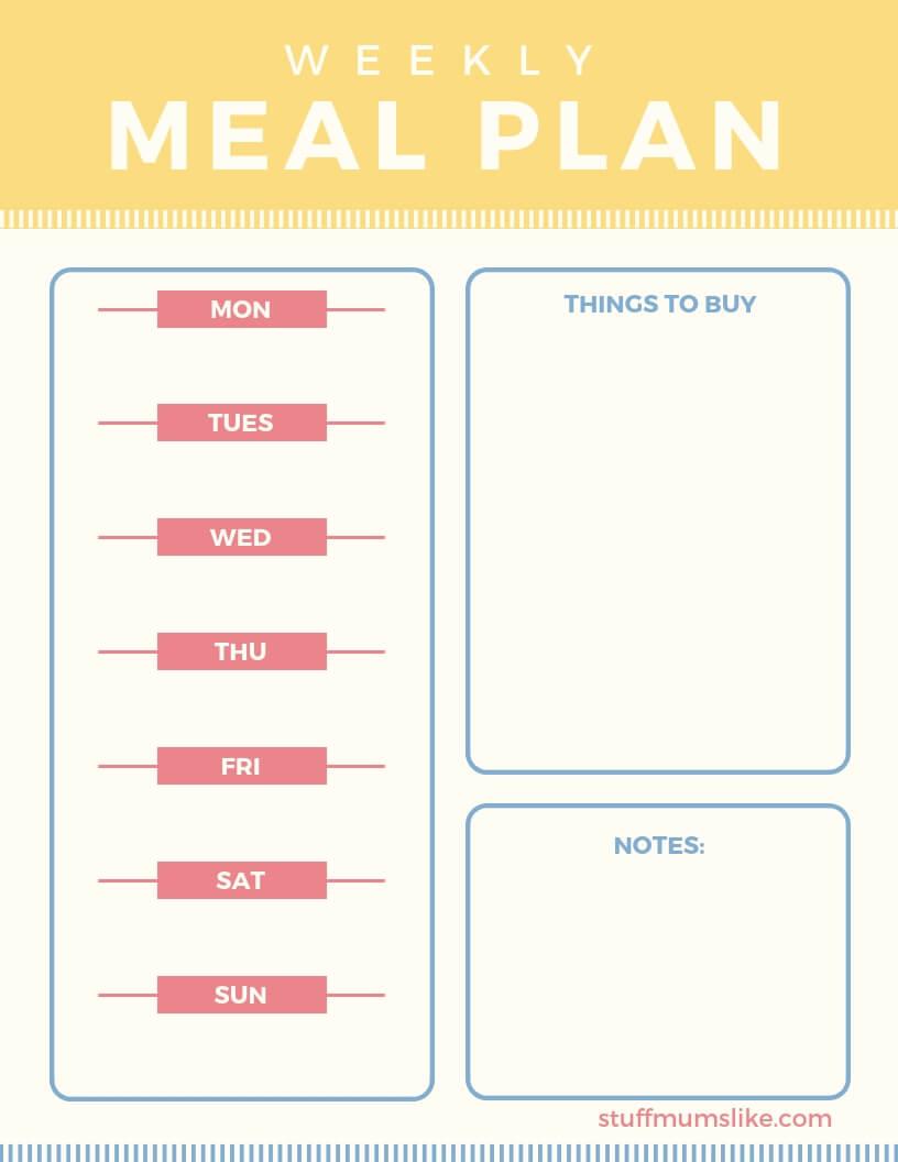 Meal Planner Menu