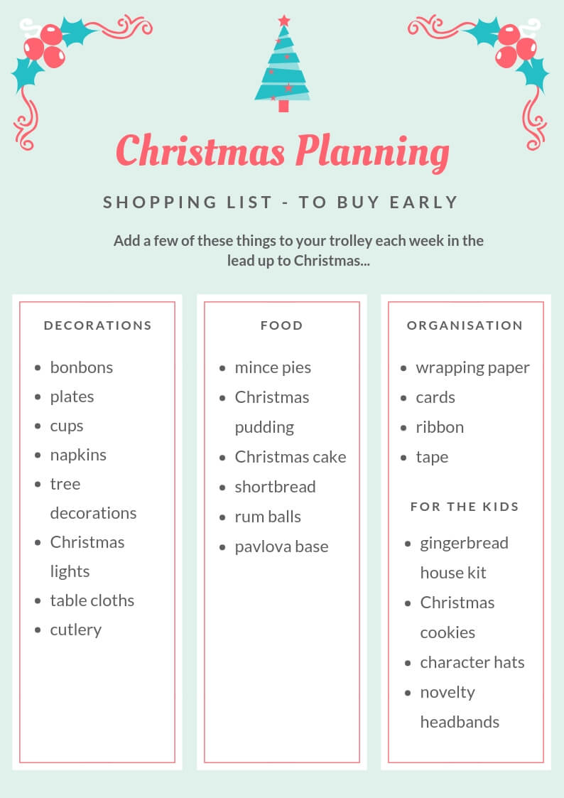Christmas Planning shopping list