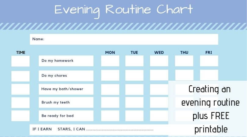 kids evening routine chart