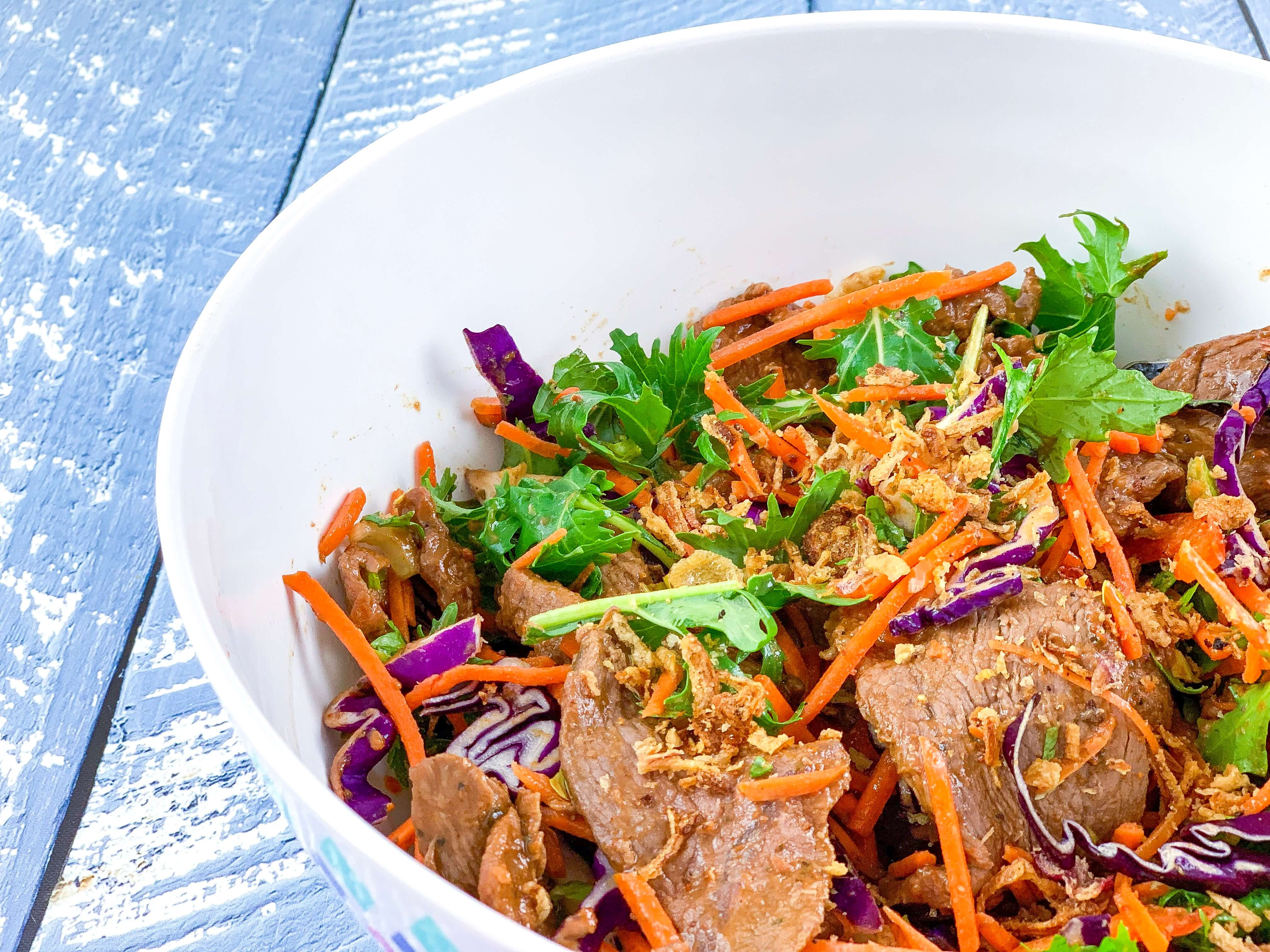 easy camping dinners - Thai Beef Salad
