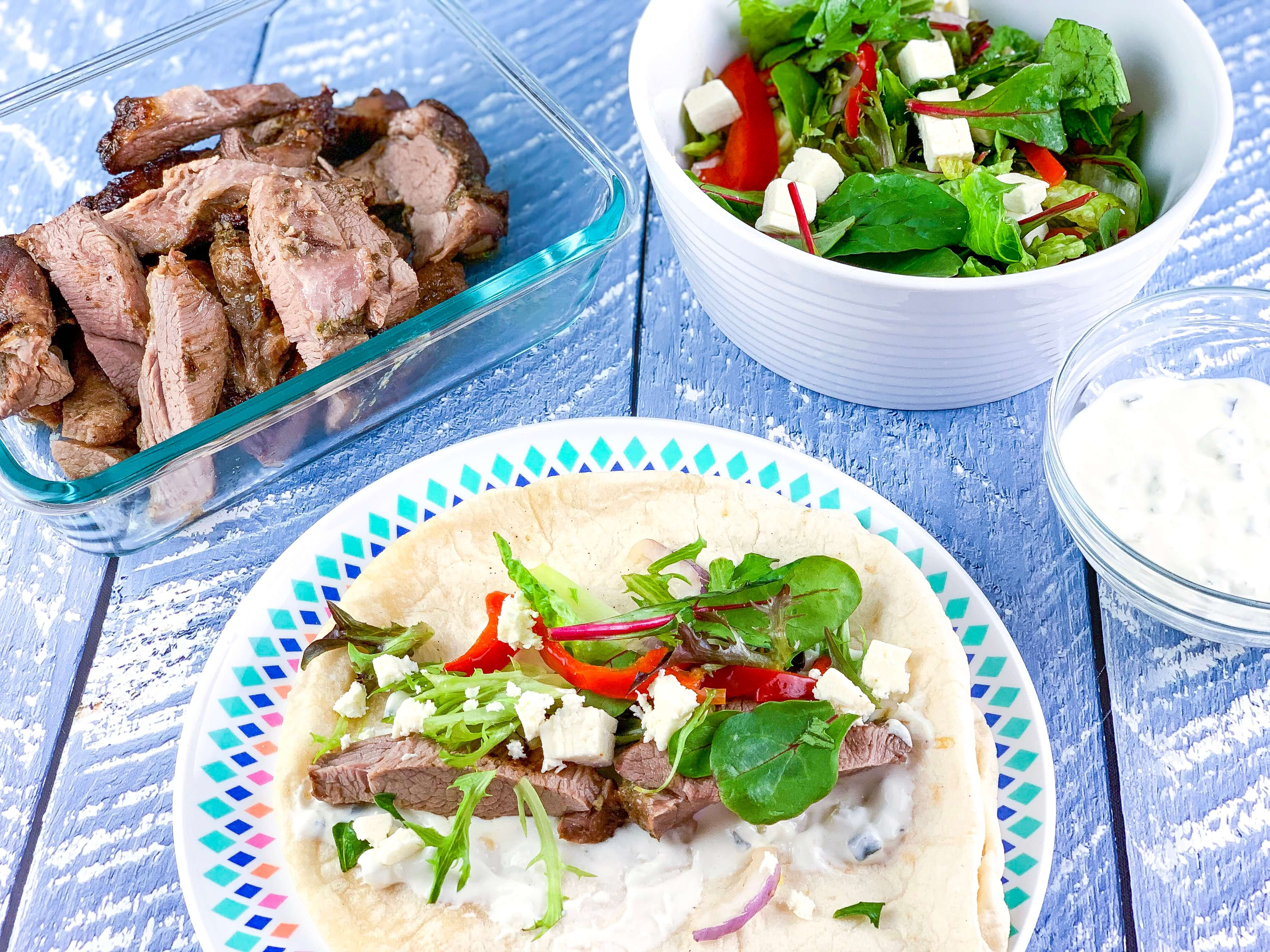 easy camping dinners - souvlaki wraps