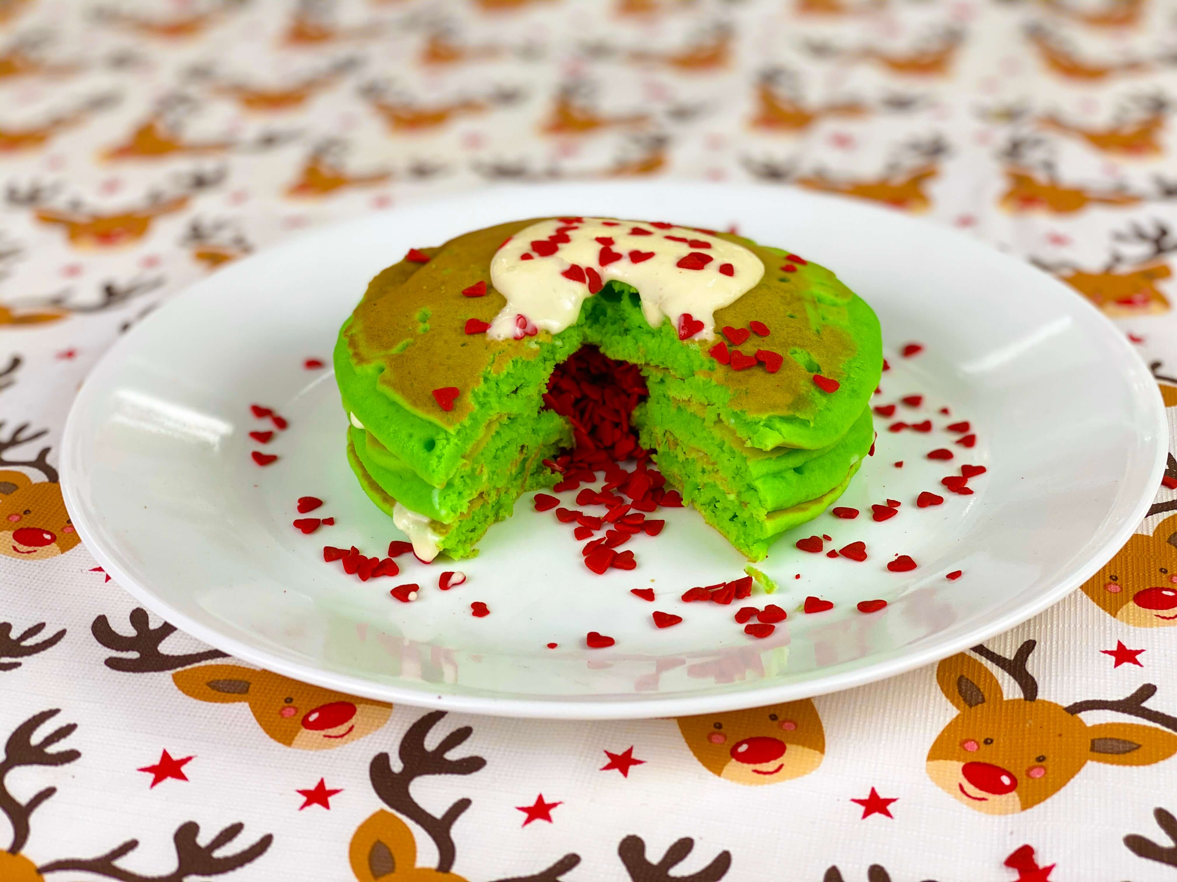 Christmas breakfast ideas - Grinch pancakes
