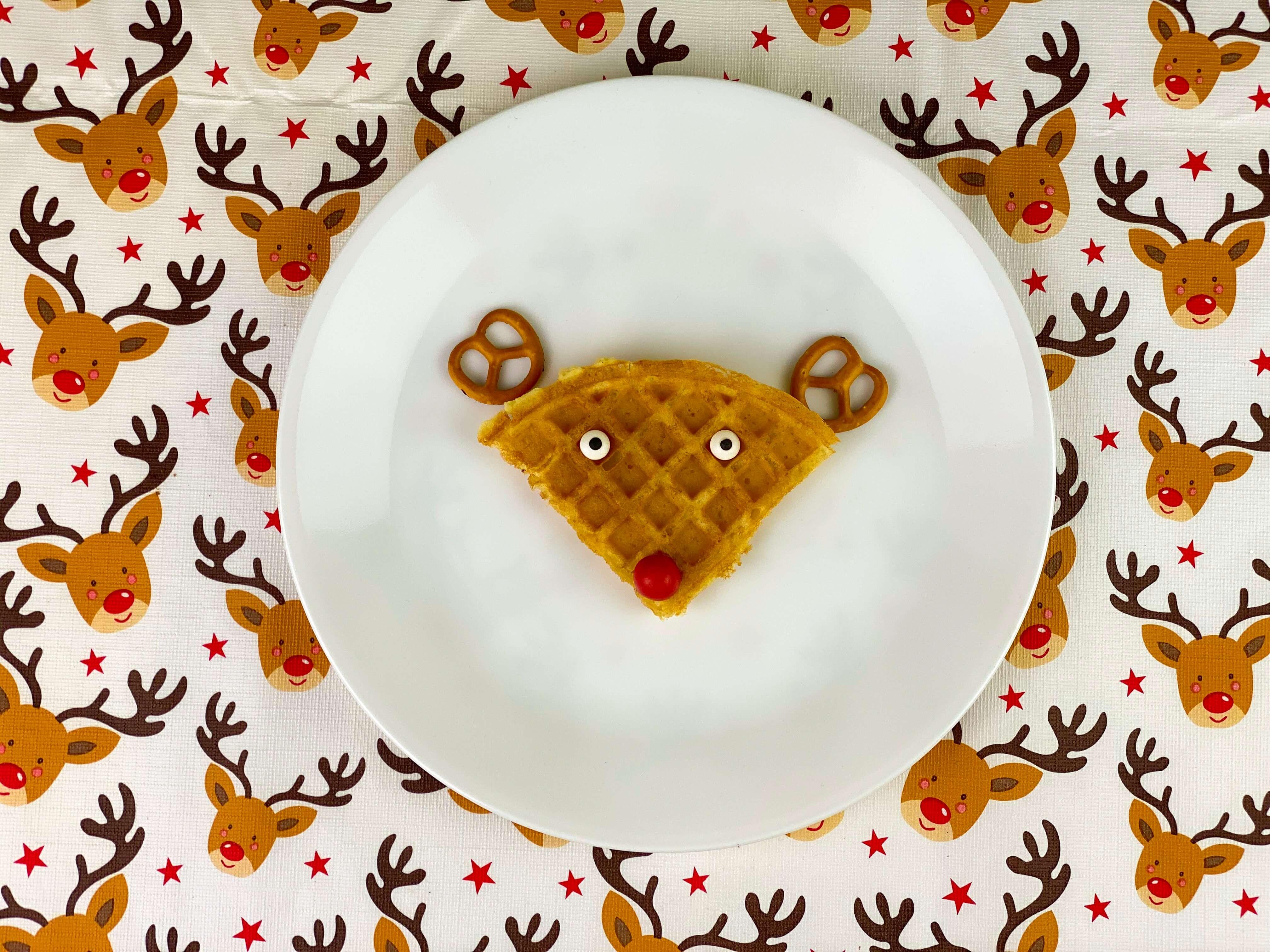 Christmas breakfast ideas - reindeer waffles