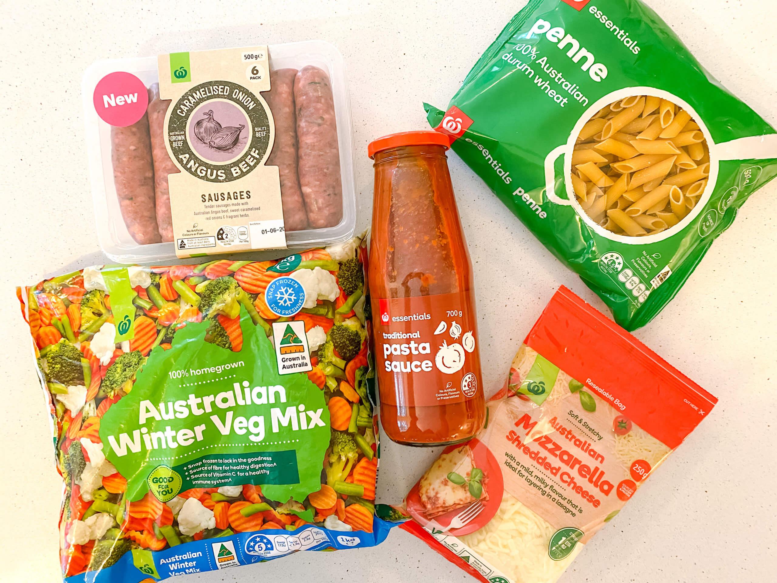 5 Ingredient sausage and vegetable pasta bake