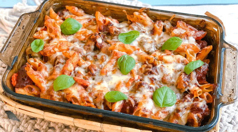 5 Ingredient sausage and vegetable pasta bake