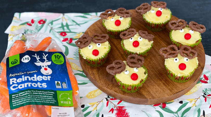 Reindeer carrot cupcakes for Christmas